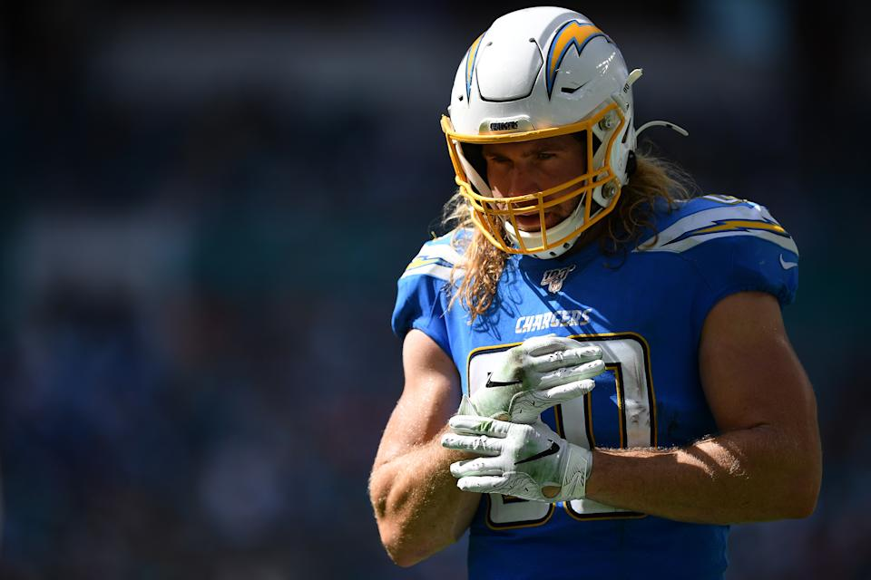 Sean Culkin of the Los Angeles Chargers
