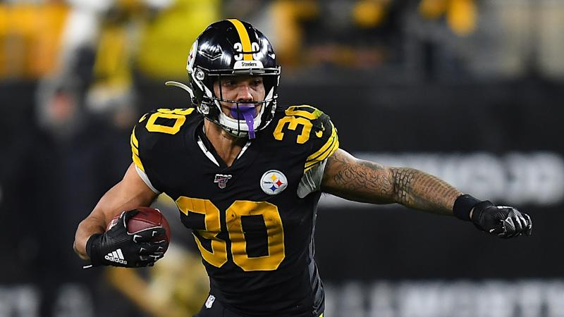 PITTSBURGH, PA - DECEMBER 15: James Conner #30 of the Pittsburgh Steelers in action during the game against the Buffalo Bills at Heinz Field on December 15, 2019 in Pittsburgh, Pennsylvania. (Photo by Joe Sargent/Getty Images)