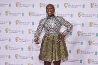 Actress Cynthia Erivo poses for photographers upon arrival at the Bafta Film Awards, in central London, Sunday, April 11 2021. (AP Photo/Alberto Pezzali)