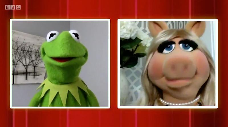 Kermit The Frog and Miss Piggy appeared on The One Show via video link (Photo: BBC)