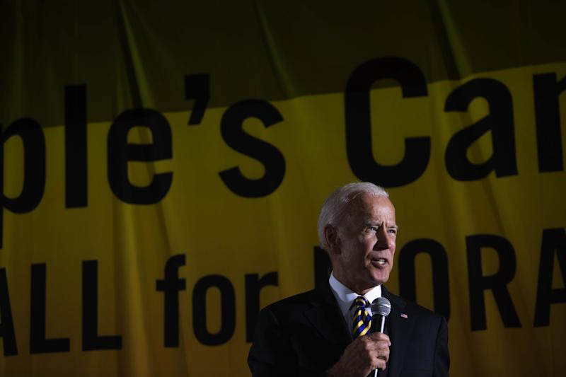 """(Bloomberg) -- Joe Biden is barreling toward the end of the first campaign finance reporting period of his 2020 presidential bid with a densely packed schedule of fundraisers that have drawn a former Republican senator, an ex-Trump cabinet official and the editor of Vogue. On Monday, Al D'Amato, who represented New York in the U.S. Senate from 1981 to 1999, was at a $2,800-a-head event at the Upper East Side penthouse of short seller Jim Chanos, as was former Veterans Affairs Secretary David Shulkin, who served as an undersecretary before being President Donald Trump's first choice to lead the agency.On Tuesday, Biden attended fundraisers at two law firms. An event at Paul Weiss Rifkind Wharton & Garrison was attended by Conde Nast creative director Anna Wintour. Biden gave shoutouts to former Representative Steve Israel and Robert Schumer, a Paul Weiss partner whose brother is the Senate Democratic leader. The former vice president appeared to offer Israel a role in his administration, joking, """"you better hope I don't win because you're not staying in Long Island.""""The former vice president may have revealed his fundraising total in the nearly two months since he began his campaign, telling donors on Monday that """"we've got over 200,000 folks — a lot more than that — 360,000. Average contribution is 55 bucks."""" That works out to $19.8 million so far for the second quarter of 2019. His campaign declined to comment further on fundraising.But at a fundraiser at Weitz and Luxenberg on Tuesday, Biden told potential donors they shouldn't be complacent about the polls showing him at the head of the Democratic pack.'We Feel Good'""""It is true we're ahead. It is true we feel good about where we're going,"""" he said. But """"there's a target on my back,"""" and the dynamics of the race could change.Chanos said the event Monday drew nearly 180 people.""""You guys are great, but Wall Street didn't build America,"""" Biden told the donors. """"You guys are incredibly important, but you didn't build """
