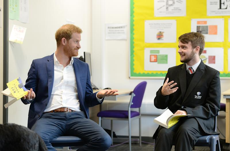 NOTTINGHAM, ENGLAND - OCTOBER 10: Prince Harry, Duke of Sussex joins a Reluctant Readers Session, during his visit to Nottingham Academy to mark World Mental Health Day, on October 10, 2019 in Nottingham, England. (Photo by Eamonn M. McCormack/Getty Images)