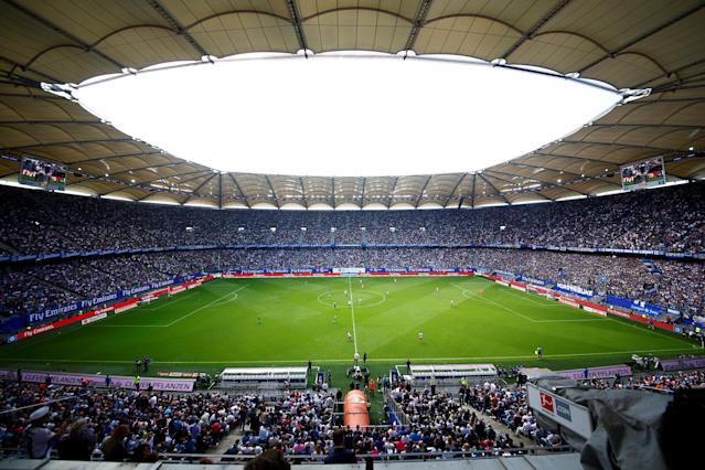 Soccer Football - Bundesliga - Hamburger SV v Borussia Moenchengladbach - Volksparkstadion, Hamburg, Germany - May 12, 2018 General view of the kick off at the start of the match REUTERS/Morris Mac Matzen DFL RULES TO LIMIT THE ONLINE USAGE DURING MATCH TIME TO 15 PICTURES PER GAME. IMAGE SEQUENCES TO SIMULATE VIDEO IS NOT ALLOWED AT ANY TIME. FOR FURTHER QUERIES PLEASE CONTACT DFL DIRECTLY AT + 49 69 650050