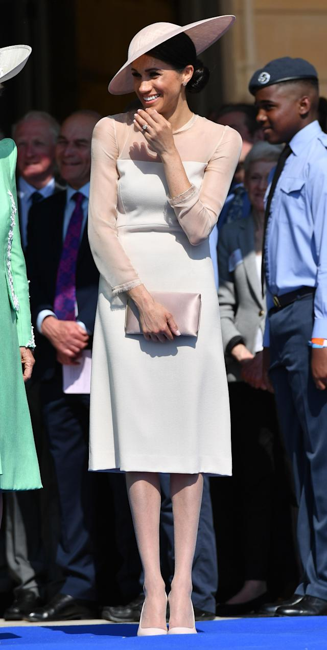 Meghan Markle wore pantyhose for her first official royal engagement as a duchess. (Photo: Getty Images)