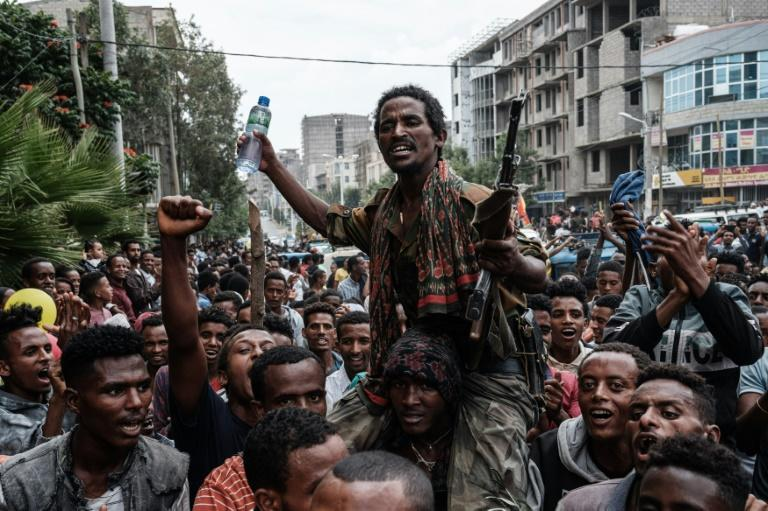 Jubilant supporters hold the returning fighters aloft as they march through the streets of Mekele