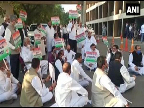 Congress MLAs from the Haryana State Legislative Assembly held a protest on Friday outside the Vidhan Bhawan building.