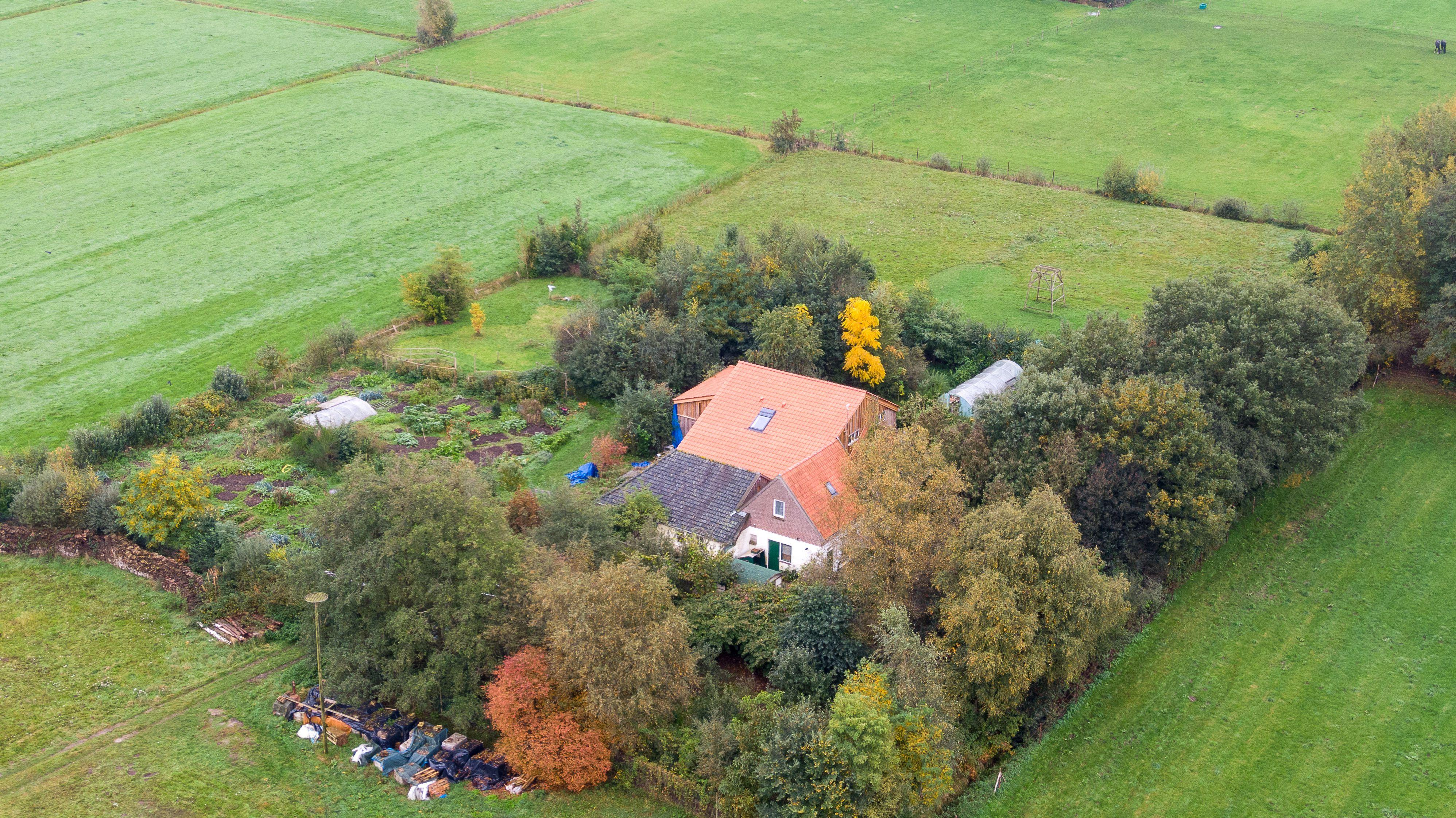 """This aerial picture taken on October 15, 2019 shows a farmhouse in a remote area of northern Netherlands' province of Drenthe, near the village of Ruinerwold, where Dutch police discovered a hidden staircase behind a cupboard leading to a cellar where a man and five others believed to be his children aged between 18 and 25 were hidden and reportedly spent years """"waiting for the end of time"""", officials said. - Local media said the family were found after one of the sons went to a nearby pub in a confused state, drank five beers and then asked for help, saying he had not been outside for nine years. Police arrested a 58-year-old man at the scene for failing to cooperate with the investigation, but he was not the father. Many questions were unanswered and police are investigating """"All scenarios"""". """"At this point we cannot give further information,"""" local police said. (Photo by Wilbert Bijzitter / ANP / AFP) / Netherlands OUT (Photo by WILBERT BIJZITTER/ANP/AFP via Getty Images)"""