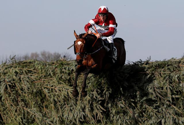 Horse Racing - Grand National Festival - Aintree Racecourse, Liverpool, Britain - April 14, 2018 Tiger Roll ridden by Davy Russell clears a fence before winning the the 17:15 Randox Health Grand National Handicap Chase REUTERS/Darren Staples