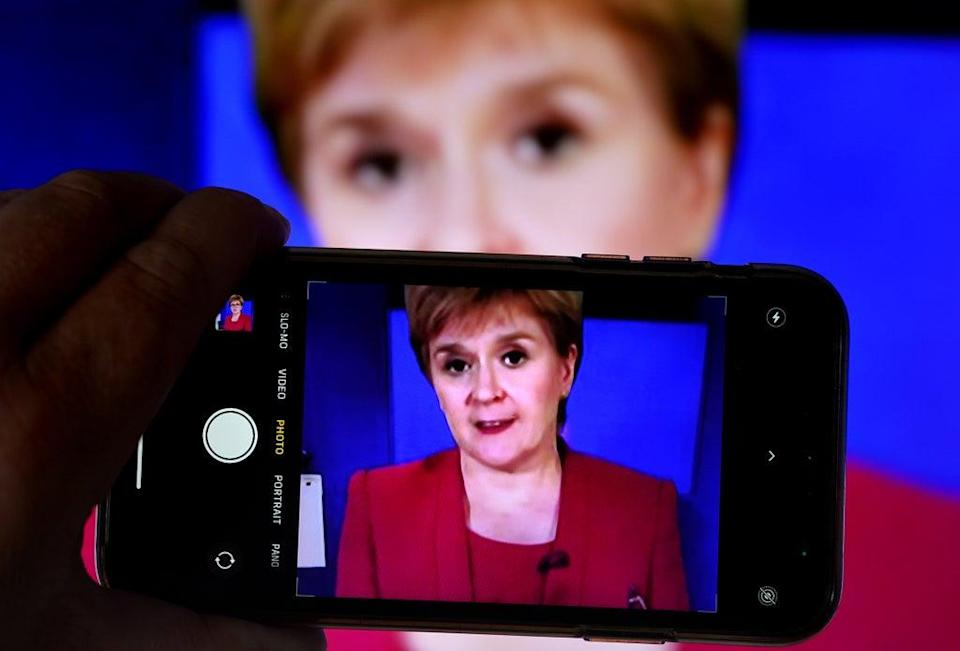 Nicola Sturgeon spoke to the media during the briefing (Andrew Milligan/PA) (PA Wire)
