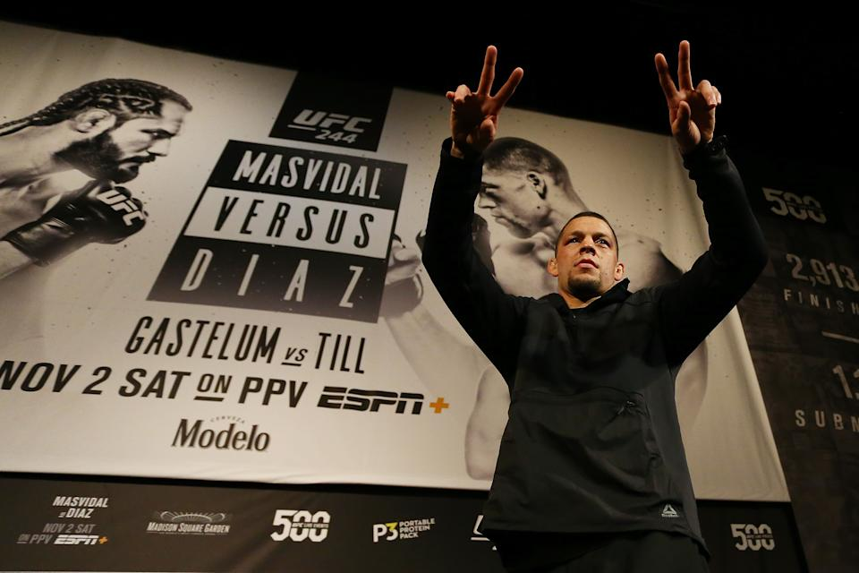 NEW YORK, NEW YORK - OCTOBER 30:  UFC fighter Nate Diaz waves to the crowd during open workouts for UFC 244 at The Hulu Theater at Madison Square Garden on October 30, 2019 in New York City. (Photo by Mike Stobe/Zuffa LLC)