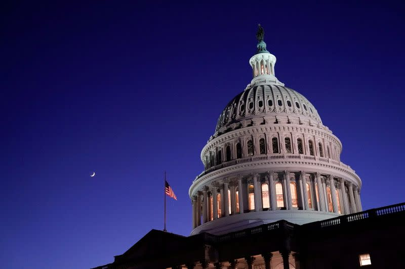 The U.S. Capitol dome is seen at night in Washington
