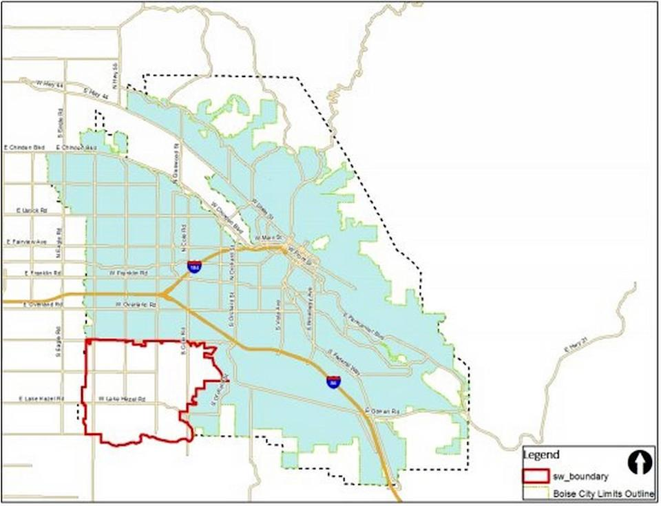 A map shows the city borders in blue and the unincorporated Southwest area of impact being considered for annexation in red.