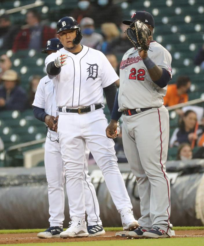 Detroit Tigers first baseman Miguel Cabrera (24) singles against Minnesota Twins starting pitcher Matt Shoemaker (32) during fourth inning action Friday, May 7, 2021 at Comerica Park in Detroit.