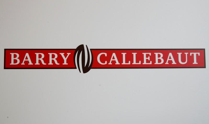 FILE PHOTO: Logo of chocolate and cocoa product maker Barry Callebaut is pictured during the company's annual news conference in Zurich