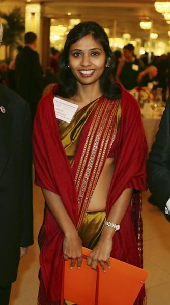 "This Dec. 8, 2013 photo shows Devyani Khobragade, India's deputy consul general, during the India Studies Stony Brook University fund raiser event at Long Island, New York. The Indian diplomat said U.S. authorities subjected her to a strip search, cavity search and DNA swabbing following her arrest on visa charges in New York City, despite her ""incessant assertions of immunity."" The case has sparked widespread outrage in India and infuriated the government, which revoked privileges for U.S. diplomats to protest her treatment. (AP Photo/Mohammed Jaffer)"