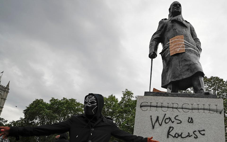 Churchill's statue was defaced
