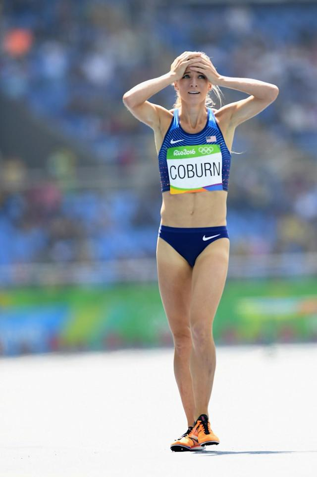 <p>Emma Coburn of the United States competes during the Women's 3000m Steeplechase Final on Day 10 of the Rio 2016 Olympic Games at the Olympic Stadium on August 15, 2016 in Rio de Janeiro, Brazil. (Photo by Quinn Rooney/Getty Images) </p>