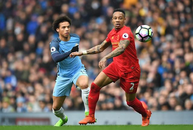 <p>Nathaniel Clyne is put under pressure by Leroy Sane </p>