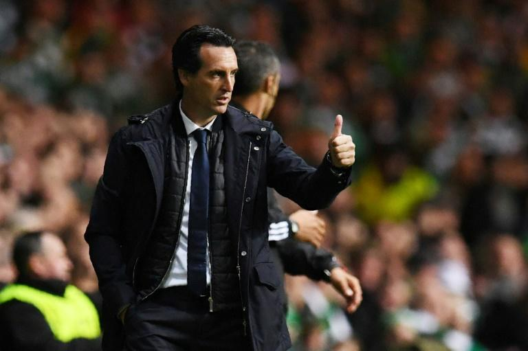 Paris Saint-Germain's head coach Unai Emery gestures on the touchline during their UEFA Champions League Group B match against Celtic, in Glasgow, on September 12, 2017
