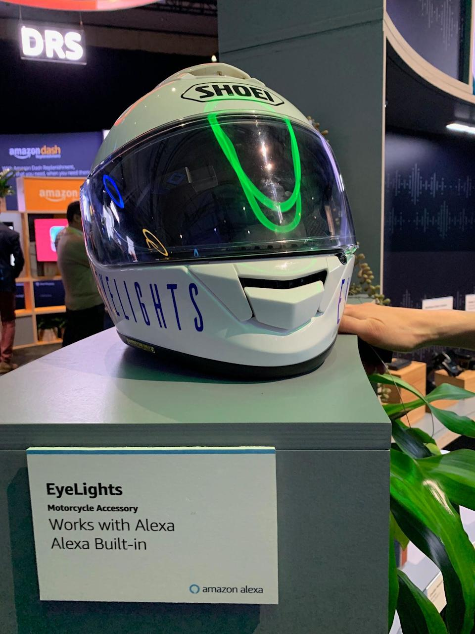 This prototype Alexa-enabled motorcycle helmet from EyeLights, featured at CES 2019 last week, is just one example of how popular Amazon's smart assistant has become with third-party companies. Source: JP Mangalindan/Yahoo Finance