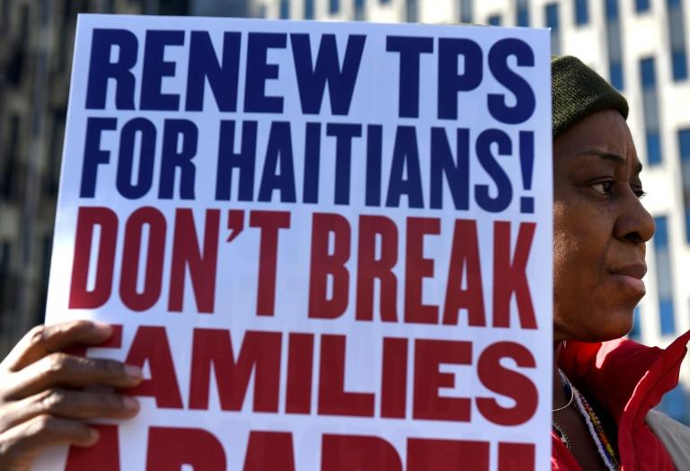 Protesters rally in New York over the US decision to terminate Temporary Protected Status for nearly 60,000 people from Haiti