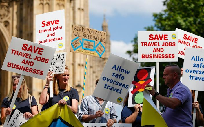 Protesters hold placards during the 'Travel Day of Action' protest - Bloomberg