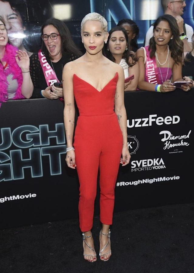 Zoe Kravitz wore a red jumpsuit by Oscar de la Renta.(Photo: AP Images)