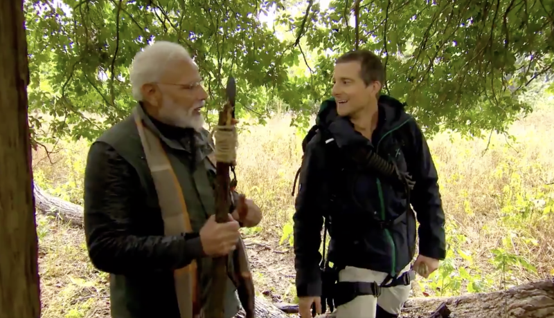 Bear Grylls is being criticized for having Indian prime minister on Man Vs. Wild. (Screenshot: Discovery)