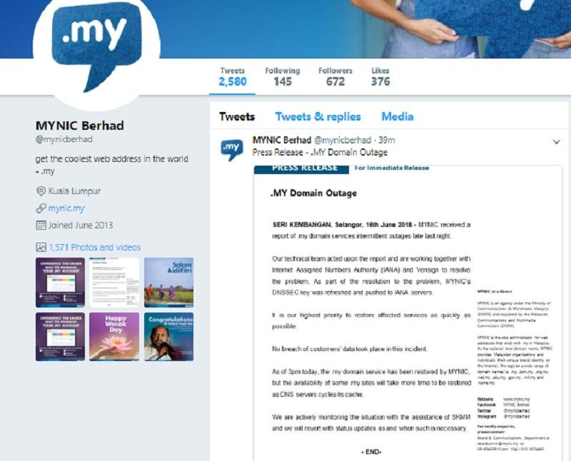 A screenshot of the MYNIC Twitter page. MYNIC said said users may continue encountering the problem until all servers affected by the technical error refresh their stored data with the corrected information.