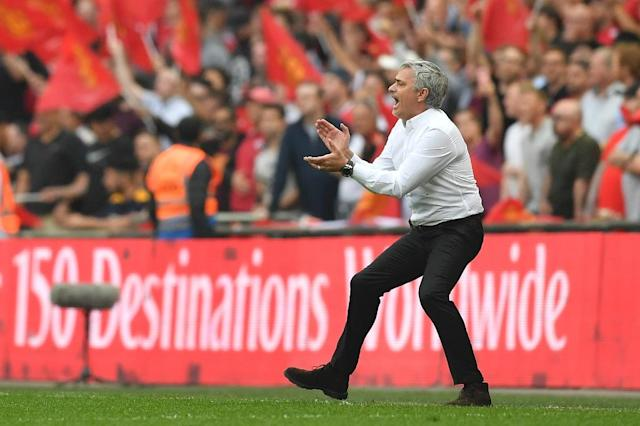 Mourinho played down expectations of Man Utd challenging champions Man City for the Premier League next season. (AFP Photo/Ben STANSALL)