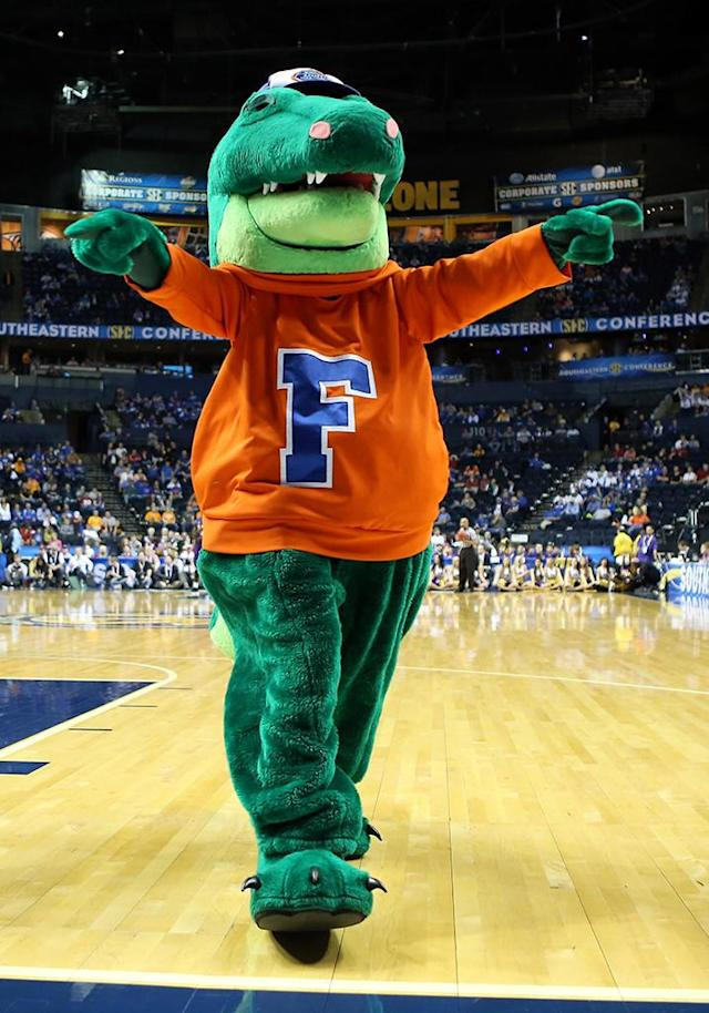 The Florida Gators mascot walks on the court during a stop in play in the first half against the LSU Tigers during the Quarterfinals of the SEC basketball tournament at Bridgestone Arena on March 15, 2013 in Nashville, Tennessee. (Photo by Andy Lyons/Getty Images)