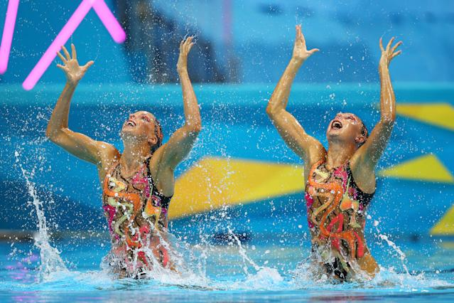 Sara Labrousse and Chloe Willhelm of France compete in the Women's Duets Synchronised Swimming Technical Routine on Day 9 of the London 2012 Olympic Games at the Aquatics Centre on August 5, 2012 in London, England. (Photo by Al Bello/Getty Images)