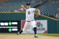 Detroit Tigers pitcher Jordan Zimmermann throws to a Chicago White Sox in the first inning of a baseball game in Detroit, Friday, Sept. 20, 2019. (AP Photo/Paul Sancya)