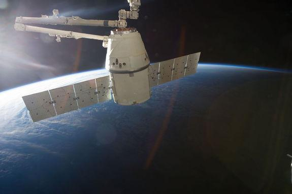 This image is one of a series of still photos documenting the process to release the SpaceX Dragon-2 spacecraft from the International Space Station on March 26, 2013.