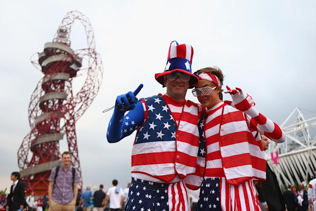 LONDON, ENGLAND - JULY 27: American fans show off their colours during the London 2012 Olympic Games Opening Ceremony at the Olympic Stadium on July 27, 2012 in London, England. (Photo by Michael Steele/Getty Images)