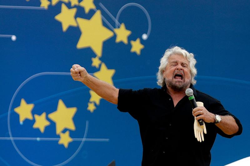 Founder of Five-Star movement Beppe Grillo talks during a rally at Rome's Circus Maximus, Sunday, Oct. 21, 2018. (AP Photo/Gregorio Borgia) (Photo: ASSOCIATED PRESS)