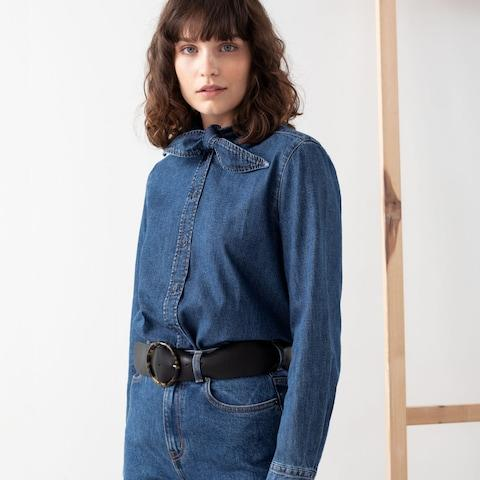 & Other Stories Organic Cotton Denim Tie Shirt - Credit: & Other Stories