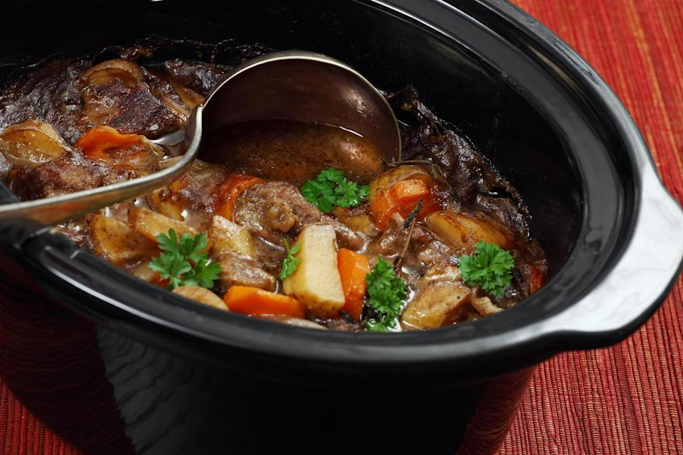 """<p>You don't have to make beef and Guinness stew on St. Patrick's Day. Instead, make this stew a day in advance or freeze it if you plan to <a href=""""https://www.thedailymeal.com/healthy-eating/make-your-meals-easier-guide-meal-prepping-slideshow?referrer=yahoo&category=beauty_food&include_utm=1&utm_medium=referral&utm_source=yahoo&utm_campaign=feed"""" rel=""""nofollow noopener"""" target=""""_blank"""" data-ylk=""""slk:meal prep"""" class=""""link rapid-noclick-resp"""">meal prep</a> and eat it throughout the week. This classic Irish dish is slow-cooked to allow the flavors of the beer to soak with the beef..</p> <p><a href=""""https://www.thedailymeal.com/best-recipes/slow-cooker-beef-guinness-stew?referrer=yahoo&category=beauty_food&include_utm=1&utm_medium=referral&utm_source=yahoo&utm_campaign=feed"""" rel=""""nofollow noopener"""" target=""""_blank"""" data-ylk=""""slk:For the Beef and Guinness Stew recipe, click here."""" class=""""link rapid-noclick-resp"""">For the Beef and Guinness Stew recipe, click here.</a></p>"""