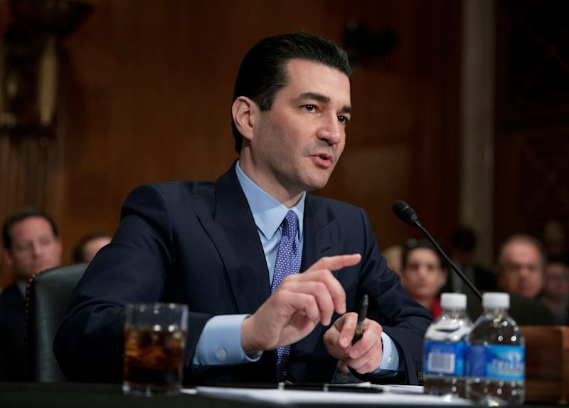 FILE - In this Wednesday, April 5, 2017, file photo, Dr. Scott Gottlieb speaks during his confirmation hearing before a Senate committee, in Washington, as President Donald Trump's nominee to head the Food and Drug Administration. On Monday, Oct. 2, 2017, FDA Commissioner Gottlieb said the administration is opening a new front in its efforts to reduce high drug prices by increasing competition, focusing on medicines so complex to make that they don't face generic competition promptly, if ever. (AP Photo/J. Scott Applewhite, File)