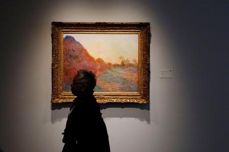 """FILE PHOTO: Monet painting part of """"Les Meules"""" is displayed at Sotheby's during a press preview of their upcoming impressionist and modern art sale in New York"""