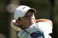 Rory McIlroy of Northern Ireland, hits from the third tee during the third round of the Tour Championship golf tournament Saturday, Sept. 4, 2021, at East Lake Golf Club in Atlanta. (AP Photo/Brynn Anderson)