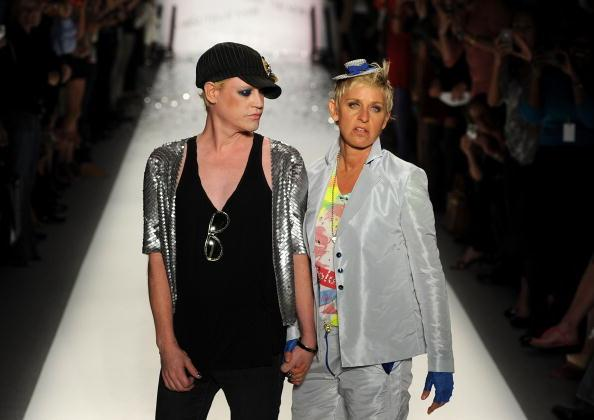 Designer Richie Rich (L) and Ellen Degeneres walk the runway at the Richie Rich Spring 2011 fashion show during Mercedes-Benz Fashion Week at The Studio at Lincoln Center on September 9, 2010 in New York City. (Photo by Frazer Harrison/Getty Images for IMG)