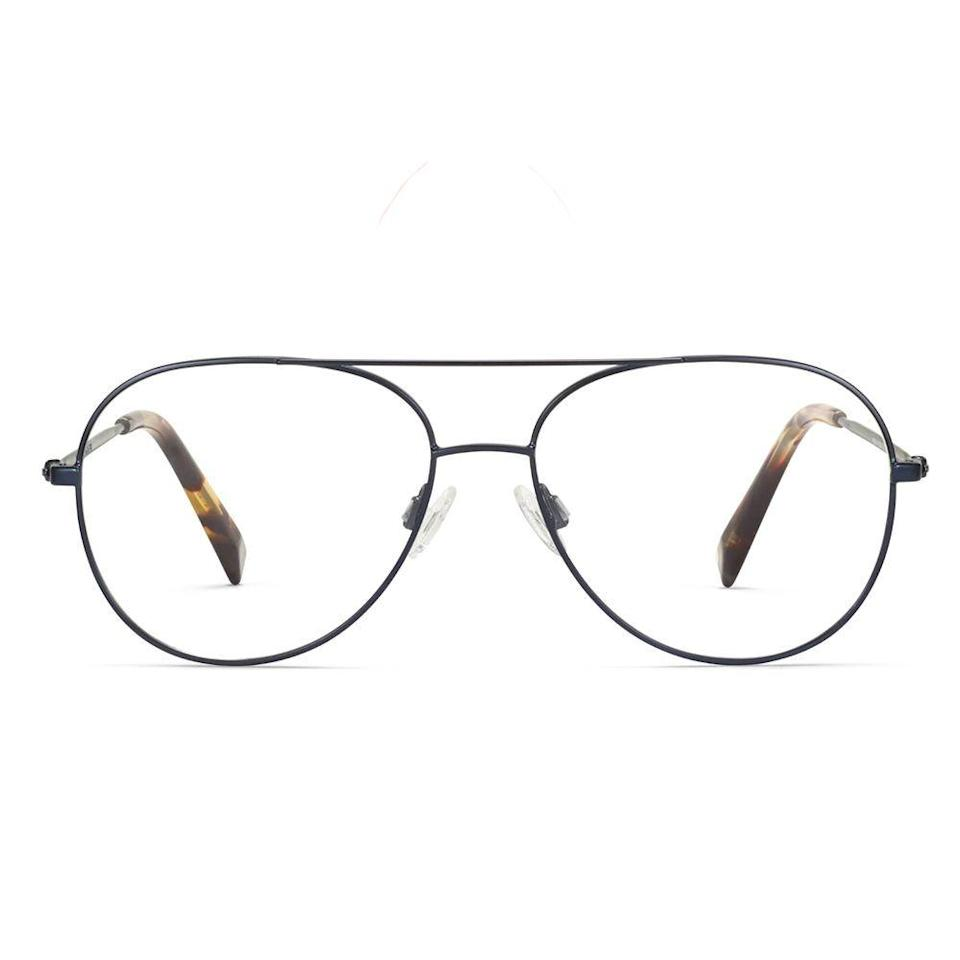 """<p><strong>Warby Parker</strong></p><p>warbyparker.com</p><p><strong>$145.00</strong></p><p><a href=""""https://go.redirectingat.com?id=74968X1596630&url=https%3A%2F%2Fwww.warbyparker.com%2Feyeglasses%2Fmen%2Fyork%2Fbrushed-navy&sref=https%3A%2F%2Fwww.bestproducts.com%2Fmens-style%2Fg33594937%2Fstylish-glasses-frames-for-men%2F"""" rel=""""nofollow noopener"""" target=""""_blank"""" data-ylk=""""slk:Shop Now"""" class=""""link rapid-noclick-resp"""">Shop Now</a></p><p>Made from stainless steel and cellulose acetate, these aviator-style eyeglasses from Warby Parker are super lightweight, anti-scratch, and durable. The included anti-reflective coating on the lenses is ideal for everyday wearability.</p>"""