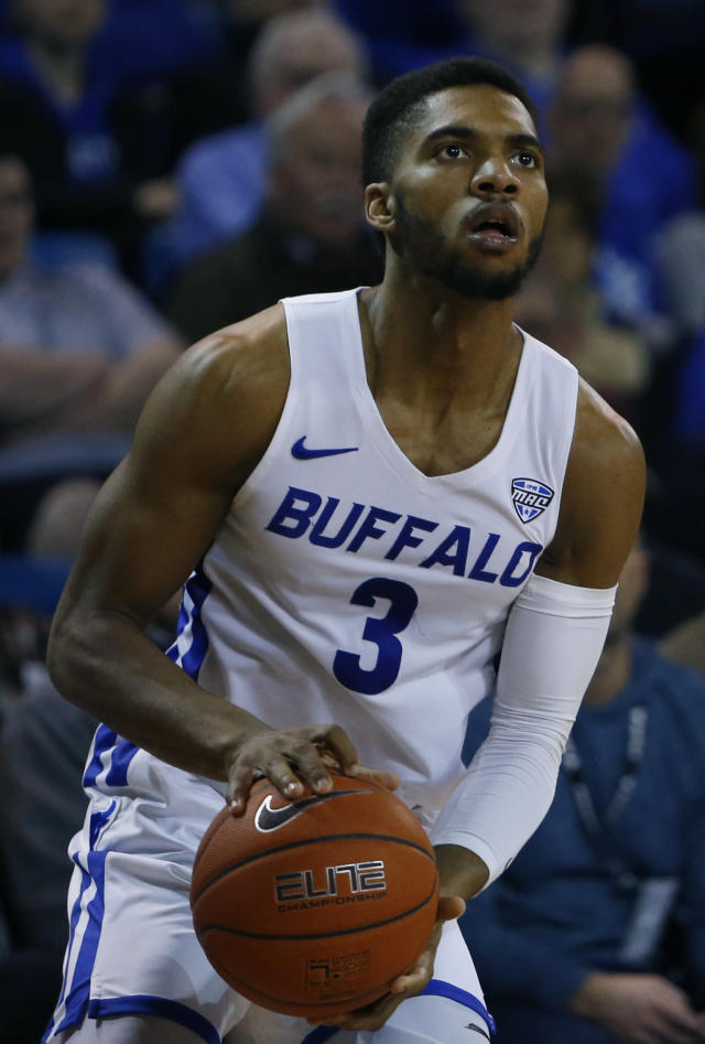 Buffalo guard Jayvon Graves (3) looks to shoot against Ohio during the second half of an NCAA college basketball game, Tuesday, Feb. 19, 2019, in Buffalo N.Y. (AP Photo/Jeffrey T. Barnes)