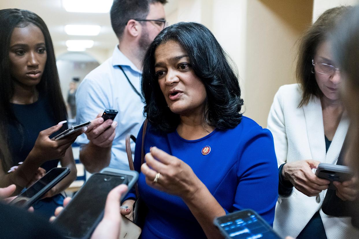 Rep. Pramila Jayapal (D-Wash.), a staunch immigrant rights advocate, also blamed Senate Democrats for approving a border funding bill without enough humanitarian safeguards. (Photo: Bill Clark/Getty Images)