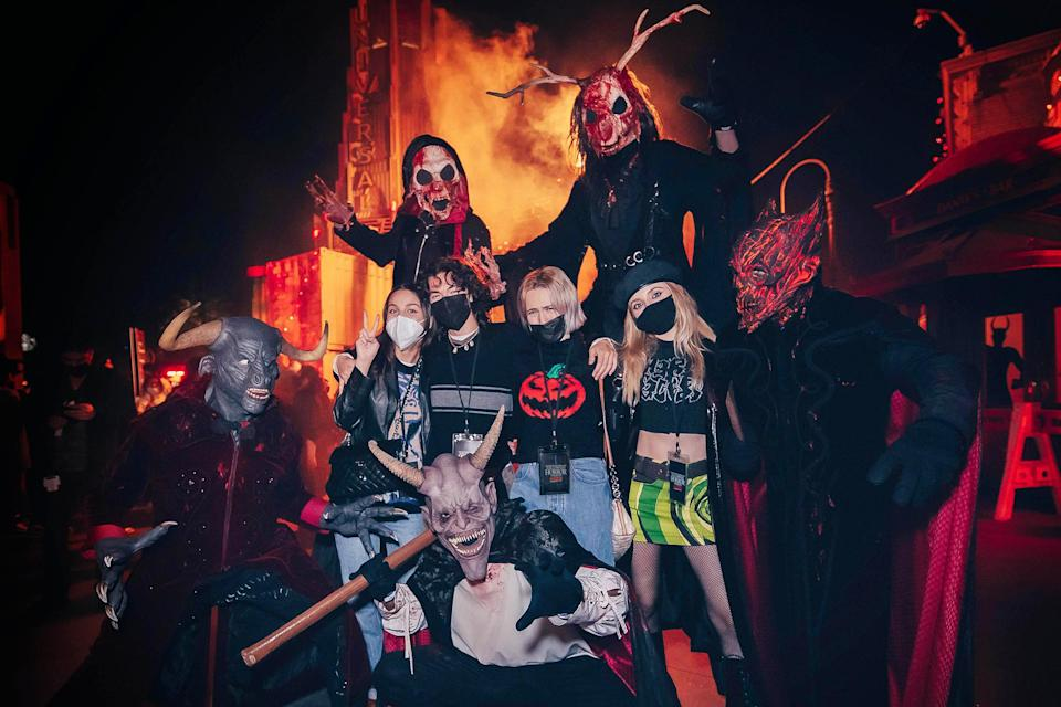 <p>freaking out at Halloween Horror Nights at Universal Studios Hollywood on Sept. 26.</p>