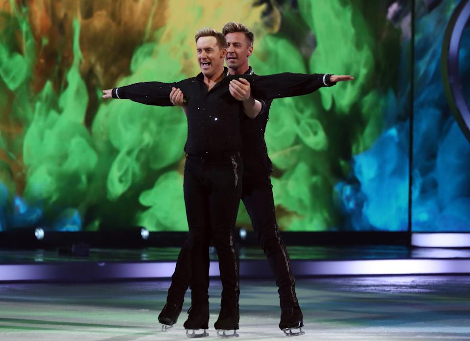 H and skating partner Matt Evers during their first routine of the series (Photo: Matt Frost/ITV/Shutterstock)