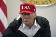 President Donald Trump listens during a briefing about Hurricane Laura with first responders at the emergency operations center Saturday, Aug. 29, 2020, in Orange, Texas. (AP Photo/Alex Brandon)
