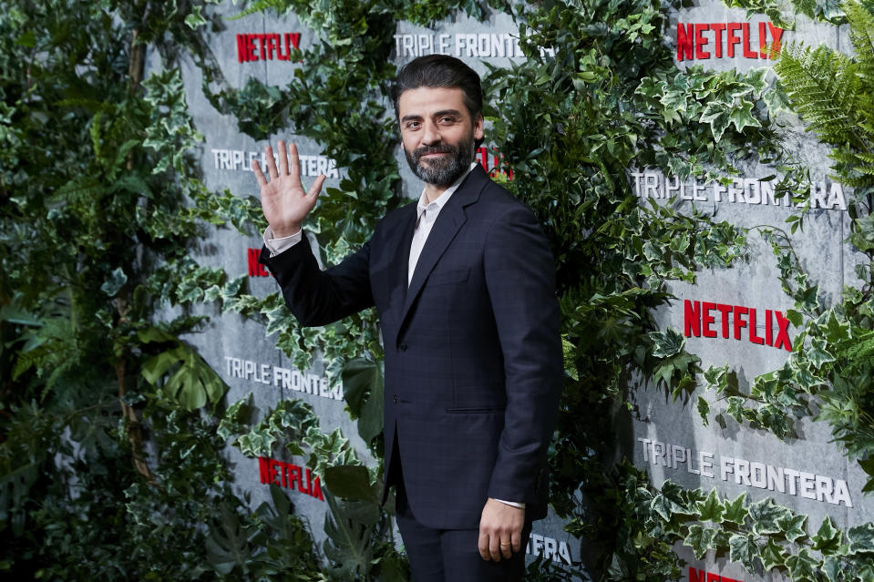 Oscar Isaac attends the Triple Frontera premiere at Callao City Lights in Madrid. (Photo by Legan P. Mace/SOPA Images/LightRocket via Getty Images)