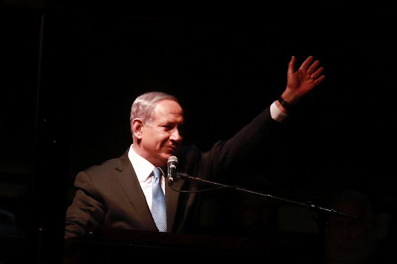 Israeli Prime Minister and Likud party's candidate running for general elections, Benjamin Netanyahu during a campaign rally on March 15, 2015, in Rabin Square in Tel Aviv (AFP Photo/Gali Tibbon)